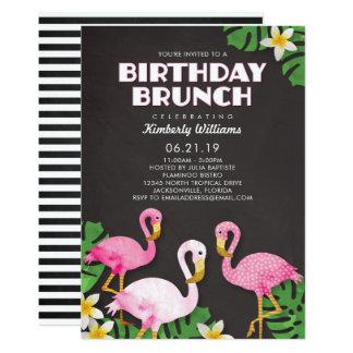 Tarjeta Pizarra rosada del brunch del cumpleaños de los