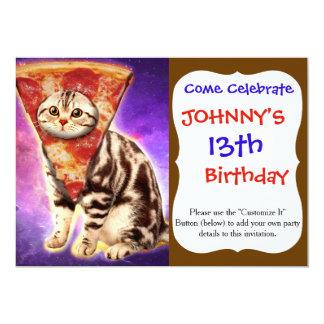 Tarjeta Pizza del gato - espacio del gato - memes del gato