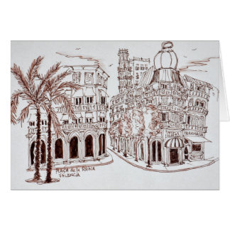 Tarjeta Placa de la Reina en la ciudad vieja, Valencia,