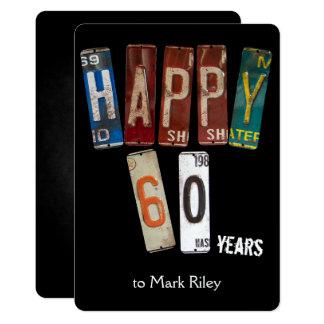 Tarjeta placas fiesta-viejas del 60.o cumpleaños