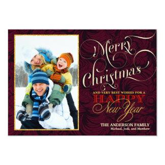 Tarjeta plana de la foto de las Felices Navidad - Invitación 12,7 X 17,8 Cm