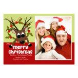 Tarjeta plana de la foto del reno del navidad raro