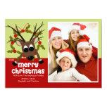 Tarjeta plana de la foto del reno del navidad raro anuncios
