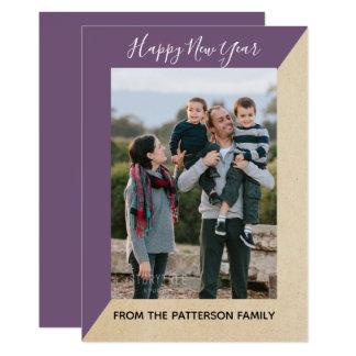 Tarjeta plana de la foto inclinada moderna púrpura