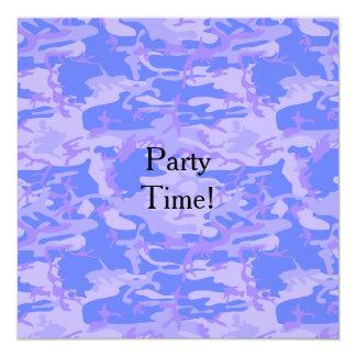 Tarjeta plana de la invitación del fiesta azul