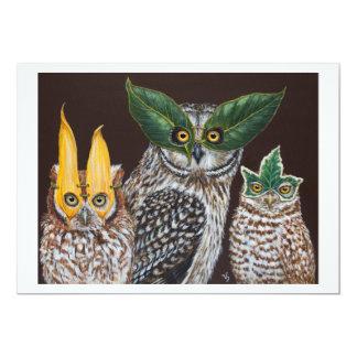 Tarjeta plana de los búhos de la mascarada invitación 12,7 x 17,8 cm