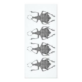 tarjeta plana de los escarabajos del baile invitación 10,1 x 23,5 cm