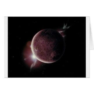 Tarjeta planeta rojo en el universo con aureola y