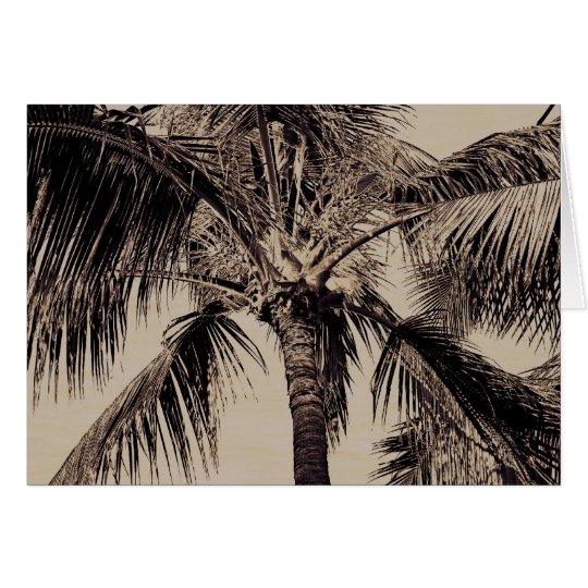 Tarjeta Plantilla hawaiana retra de la palmera de la sepia