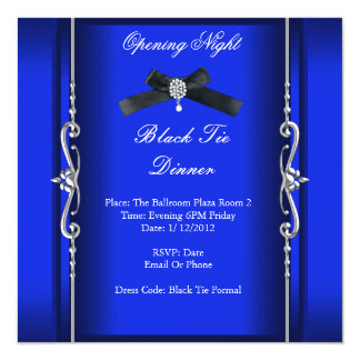 Tarjeta Plata azul formal del lazo negro de la noche de la