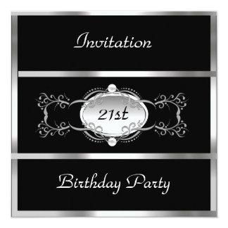 Tarjeta Plata del negro de la fiesta de cumpleaños