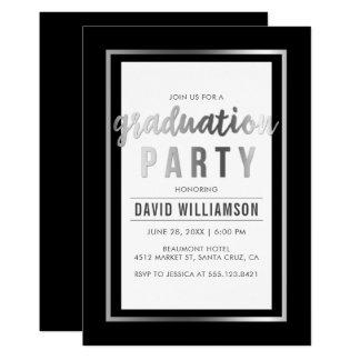 Tarjeta Plata lisa y fiesta de graduación negra de la