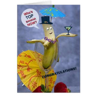 Tarjeta Plátano superior de la enhorabuena