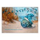 Tarjeta Playa azul del gorra de las fiestas el | Santa de