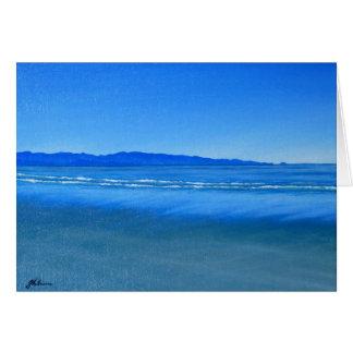 Tarjeta Playa de Tahunanui, Nelson, pintura de Nueva
