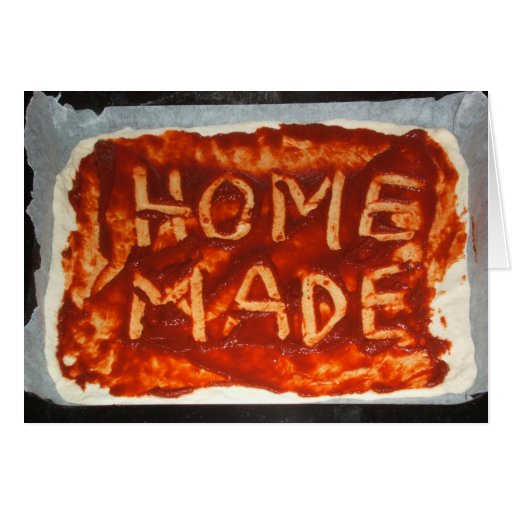 Tarjeta plegable baja de la pizza hecha en casa