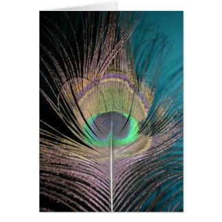 Tarjeta Plumas del pavo real en negro y turquesa