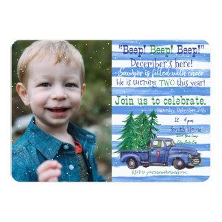 Tarjeta Poco cumpleaños inspirado camión azul del día de