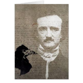 Tarjeta Poe y el arte de Digitaces del Grunge del cuervo,