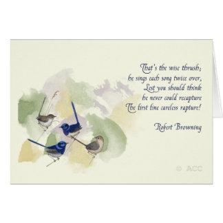 Tarjeta Poema de Robert Browning de los pájaros de la