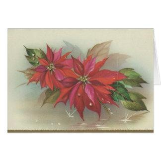 Tarjeta Poinsettia del navidad del vintage