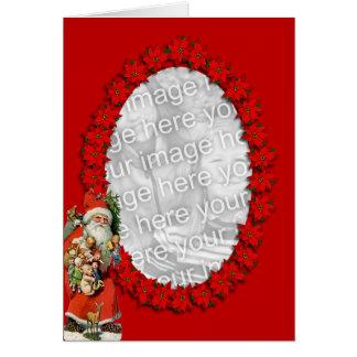 Tarjeta Poinsettia Santa