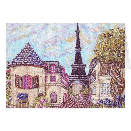 Tarjeta Pointillism del paisaje urbano de París con la
