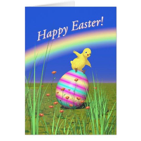 Tarjeta Polluelo lindo del bebé en el huevo de Pascua