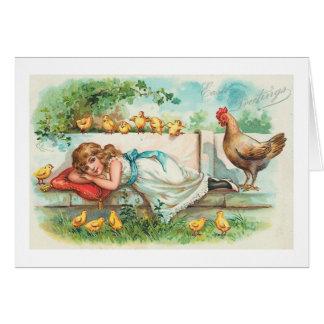 Tarjeta Polluelos de la gallina de los saludos de Pascua y