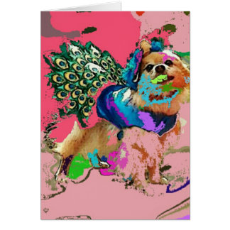 Tarjeta Pom es un pavo real rosado