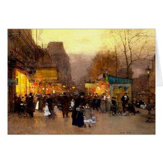 Tarjeta Porte San Martín en el tiempo del navidad en París
