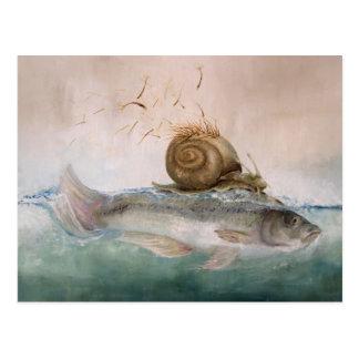 Tarjeta postal de arte, pez de caracol de árbol