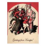 Tarjeta postal Krampus de época