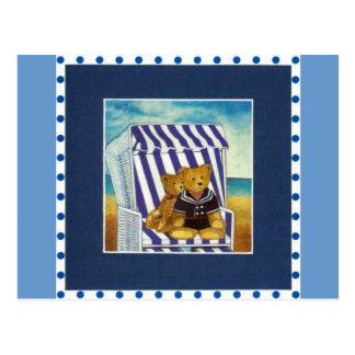"""Tarjeta postal """"Teddys en Strandkorb"""" diseño de ac"""