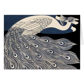Tarjeta Poster del pavo real de Nouveau del arte