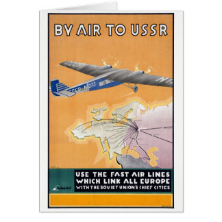 Tarjeta Poster del transporte aéreo del vintage de URSS