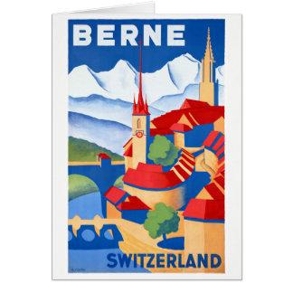 Tarjeta Poster del viaje del vintage de Berna Suiza