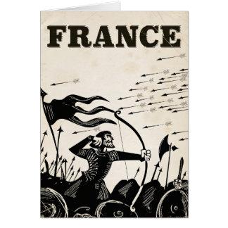 Tarjeta Poster del viaje del vintage de Francia. coche