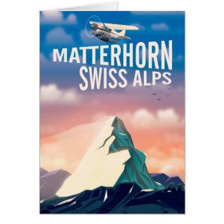 Tarjeta Poster suizo del viaje de Cervino de las montañas