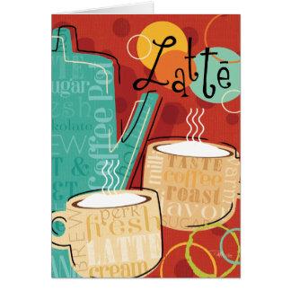 Tarjeta Pote y tazas decorativos de Latte