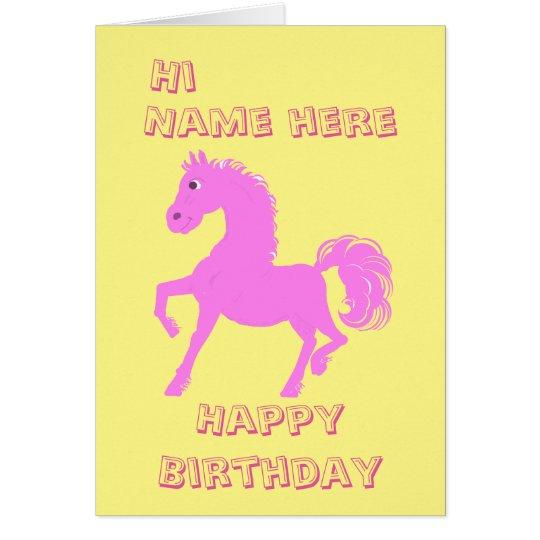 Tarjeta Potro rosado bonito, cumpleaños de los chicas