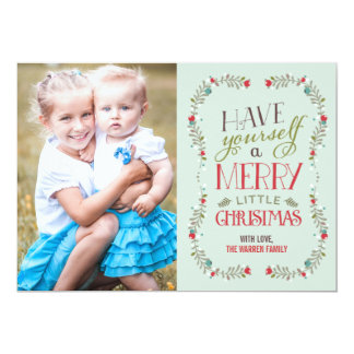 Tarjeta preciosa de la foto del navidad de las invitacion personalizada