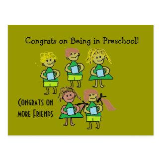 Tarjeta preescolar de los congrats postales