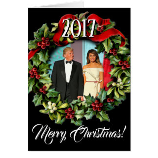 Tarjeta Presidente 2017 Donald Trump y navidad de Melania