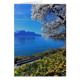 Tarjeta Primavera en Ginebra o el lago Leman, Montreux,