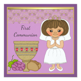 Tarjeta Primer chica de la comunión en púrpura