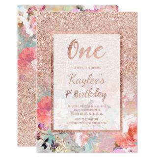 Tarjeta Primer cumpleaños de la falsa acuarela floral