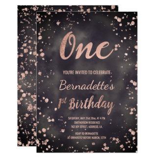 Tarjeta Primer cumpleaños de la falsa del oro acuarela