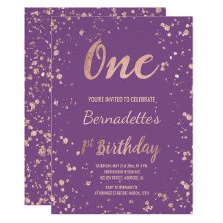 Tarjeta Primer cumpleaños de la falsa del oro púrpura