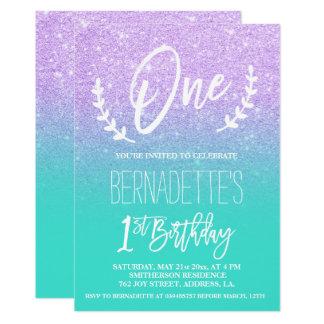 Tarjeta Primer cumpleaños de la lavanda de la tipografía